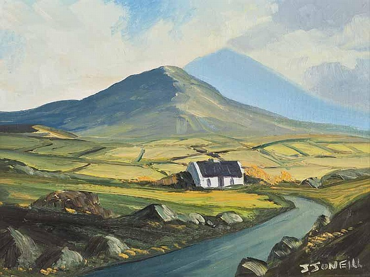 J.J. O'Neill - IRISH COTTAGE, Oil on Board, 9 x 12