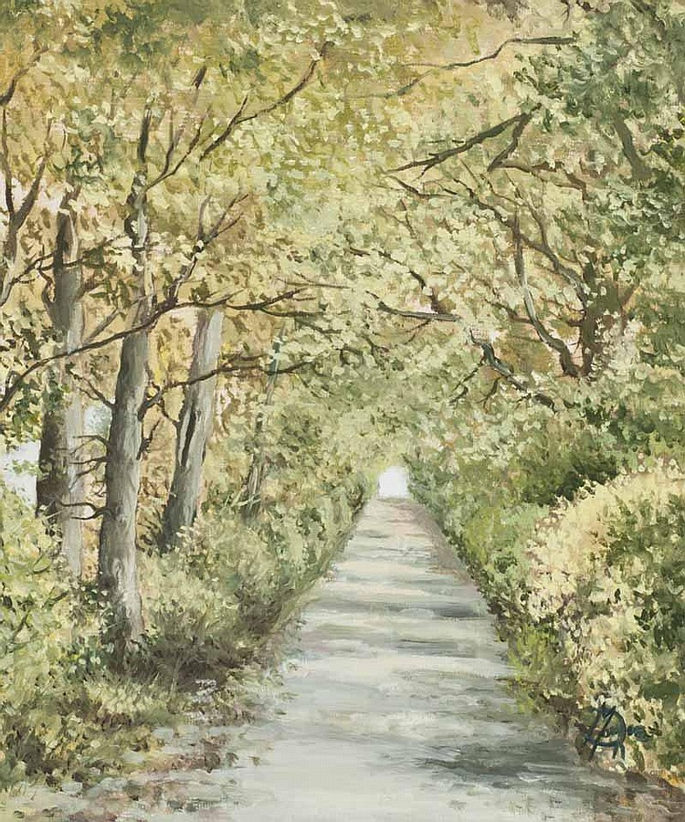 Desmond Monroe - PATH BY THE TREES, Oil on Board,