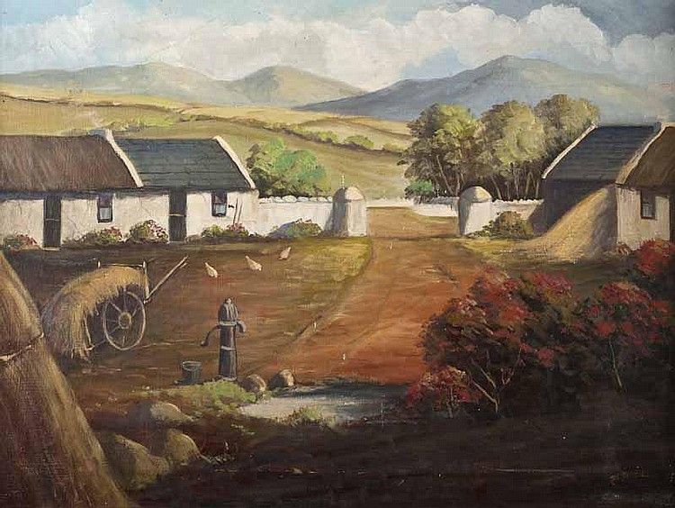J.J. O'Neill - FARMYARD, DONEGAL, Oil on Canvas,