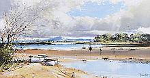 Frank Fitzsimons - SANDY STRANGFORD & SCRABO - Oil on Canvas - 16 x 30 inches - Signed