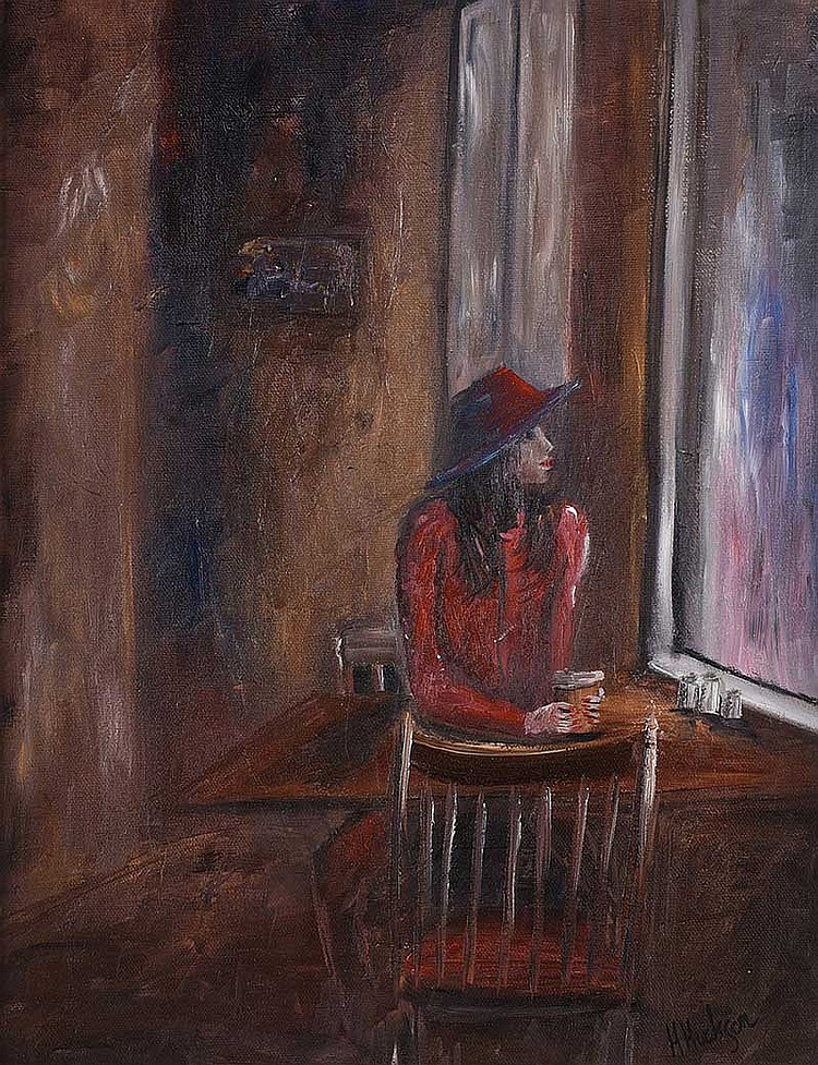 Hayley Huckson - WAITING - Oil on Board - 18 x 14 inches - Signed