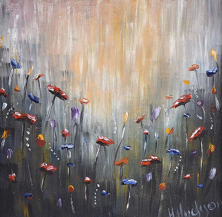 Hayley Huckson - WILD FLOWERS IN THE RAIN - Oil on Canvas - 8 x 8 inches - Signed
