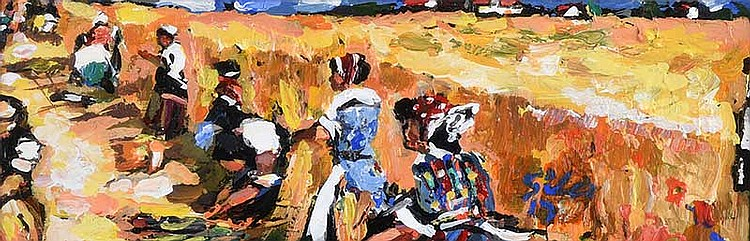 Ken Giles - HARVESTING AT CURR - Acrylic on Board - 4 x 13 inches - Signed