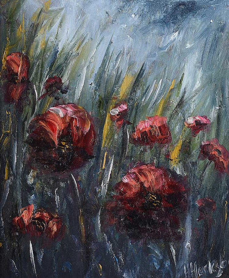 Hayley Huckson - WILD POPPIES - Oil on Board - 12 x 10 inches - Signed