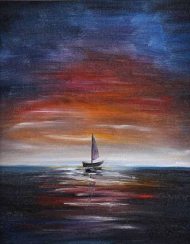 Hayley Huckson - SAILOR'S SUNRISE - Oil on Canvas - 12 x 10 inches - Signed