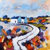 Desmond Monroe - WHITE COTTAGES - Oil on Canvas - 24 x 24 inches - Signed in Monogram, Desmond Monroe, Click for value