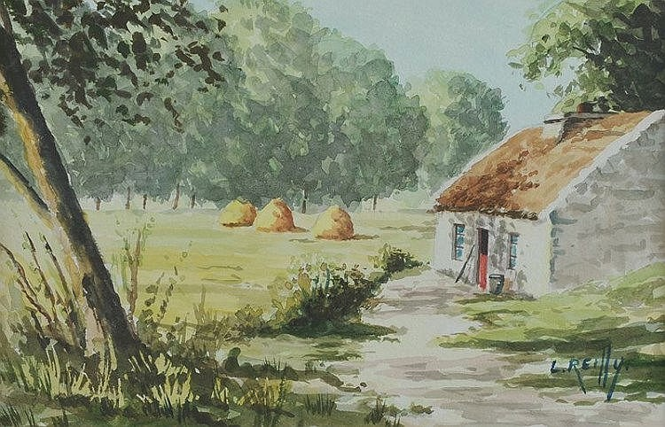 Liam Reilly - COTTAGE & HAYSTACKS - Watercolour Dr