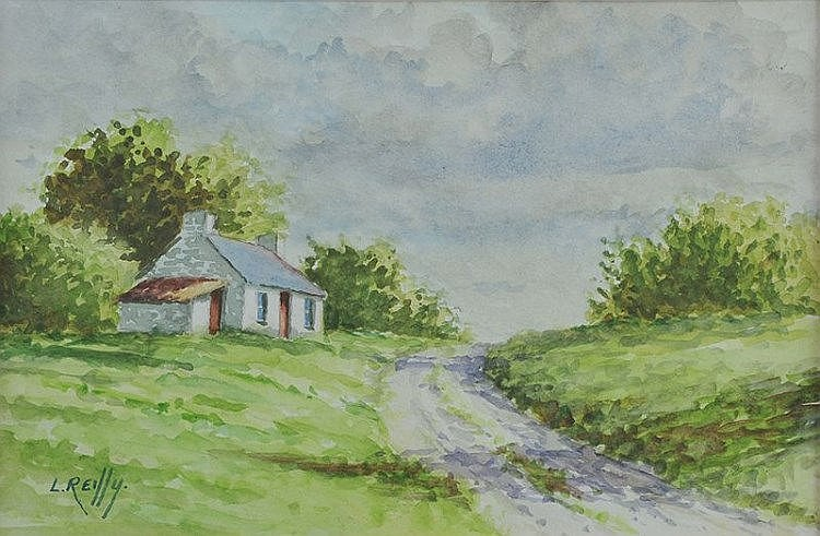 Liam Reilly - COTTAGE BY THE ROAD - Watercolour Dr