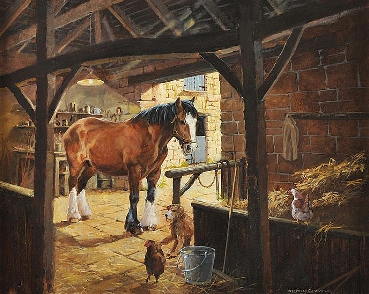 Stephen Cummins - STABLE INTERIOR - Oil on Canvas