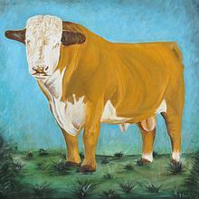 David Reid - HEREFORD BULL - Acrylic on Canvas -
