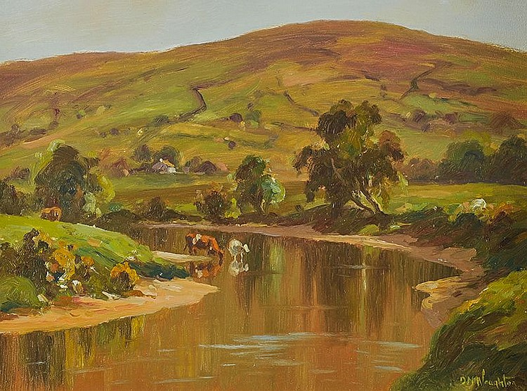 DONAL MCNAUGHTON - CATTLE BY THE RIVER DUNN
