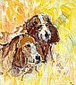 Desmond Murrie - TWO DOGS, Oil on Board, 14 x 12, Desmond Murrie, Click for value