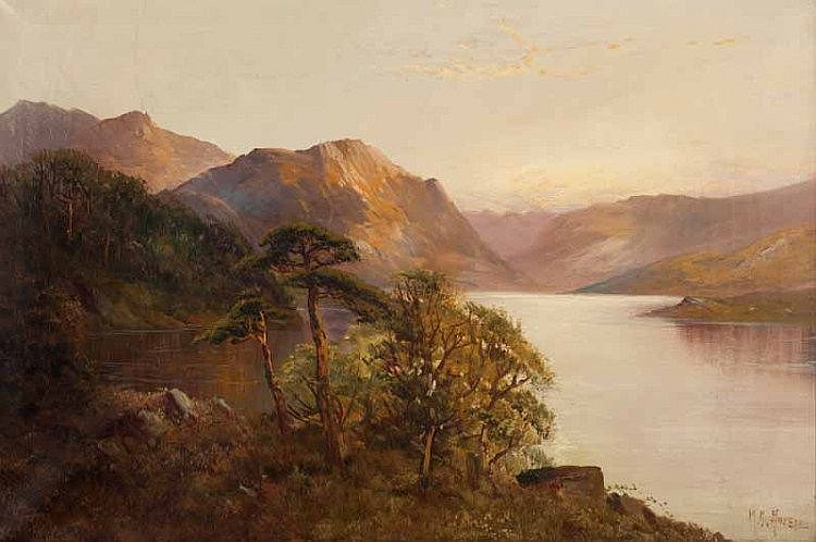 Montgomery Ansell - TREES BY THE LOCH - Oil on