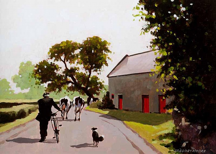 Gregory Moore - TO PASTURES NEW, Oil on Board, 10