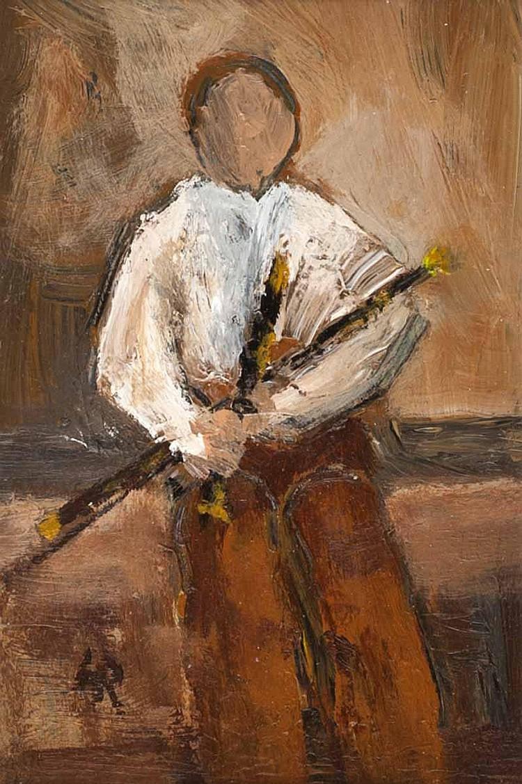 Harry C. Reid - IRISH PIPER, Acrylic on Board, 6 x