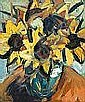 Colin Davidson - STILL LIFE, SUNFLOWERS, Oil on, Colin Davidson, Click for value