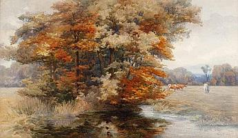 Mary Georgina Barton (1861-1949) - AUTUMN GLORY,