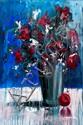 Angelina Raspel (20th Century) - VASE OF FLOWERS,