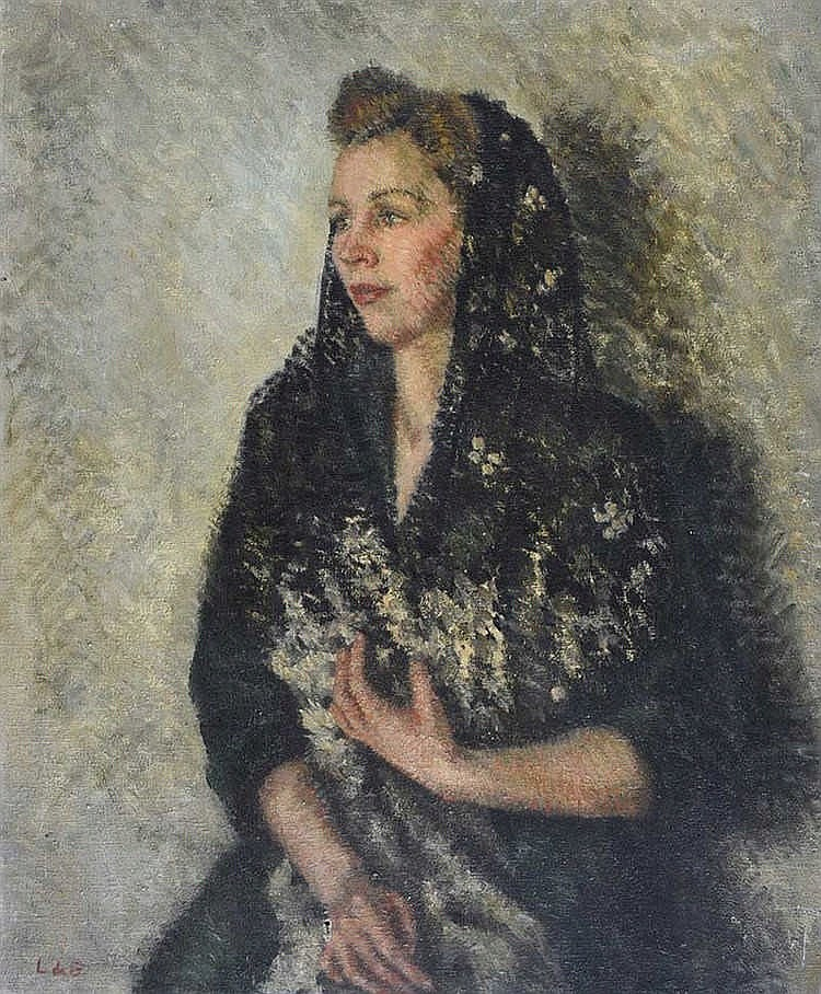 Lydia De Burgh, RUA - LADY IN A BLACK SHAWL - Oil on Canvas - 30 x 25 inche