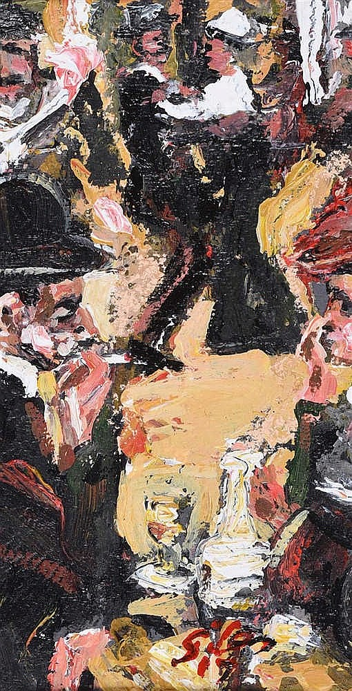 Ken Giles - A SCENE FROM THE MOULIN ROUGE - Oil on Board - 11 x 6 inches -