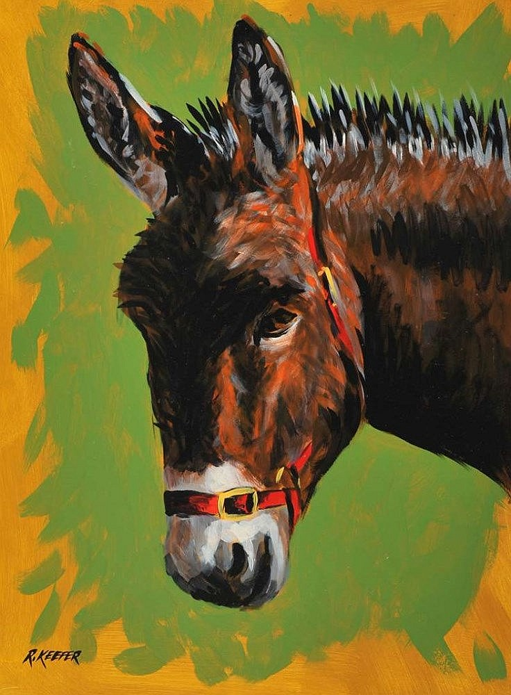 Ronald Keefer - LITTLE DONKEY - Oil on Board - 16 x 12 inches - Signed
