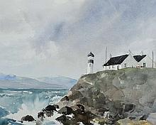 Joan Murray - LIGHTHOUSE AT LOCHALSH - Watercolour Drawing - 12 x 16 inches - Signed
