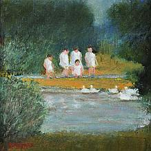 Stanley Vennard - CHILDREN IN THE PARK - Oil on Board - 7 x 7 inches - Signed