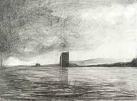 Doris Rohr - TOWER IN A LANDSCAPE - Charcoal on