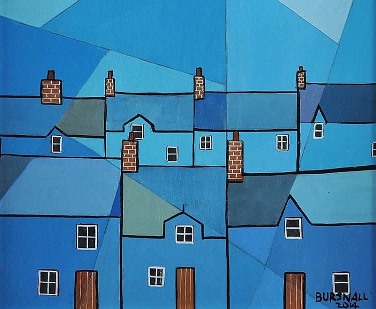 Paul Bursnall - CUBIC COTTAGES - Oil on Board - 10