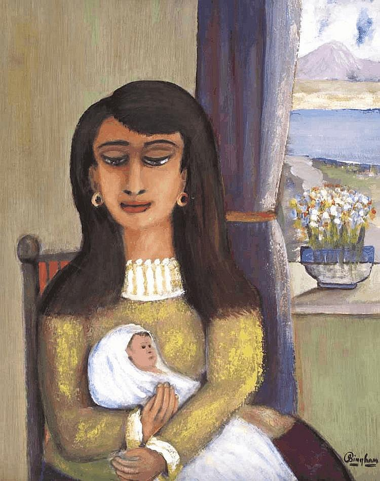 James Bingham (1925-2009) - MOTHER & CHILD, Oil on