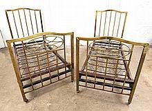 PAIR OF EDWARDIAN BRASS SINGLE BEDS