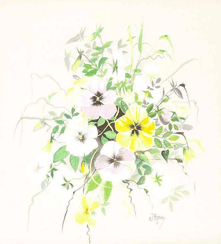 Joe Hynes - PANSY PROFUSION - Watercolour Drawing