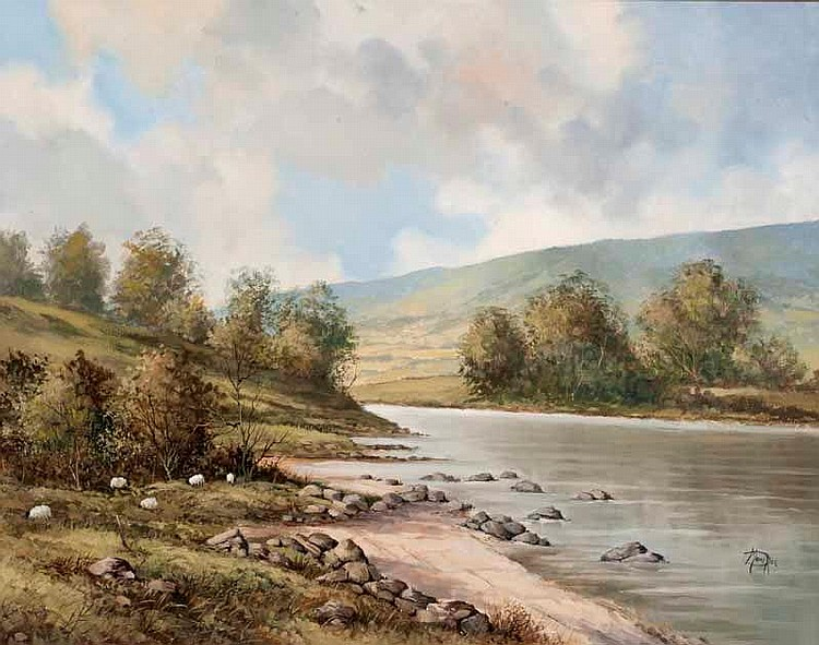 Desmond Monroe - SHEEP GRAZING BY THE RIVER'S EDGE