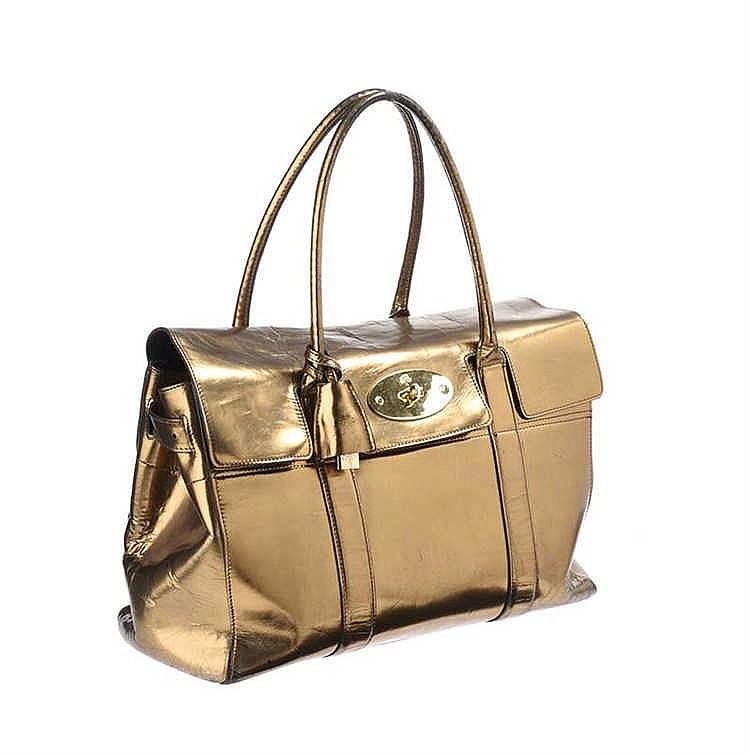 MULBERRY GOLD MIRROR METALLIC LEATHER BAYSWATER BAG