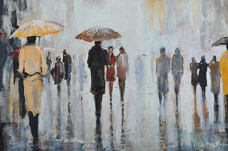 Holly Hanson - WET DAY, BELFAST - Oil on Board -