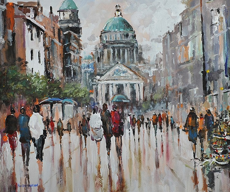 Holly Hanson - CITY HALL - Oil on Board - 20 x 24