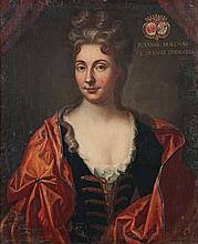 école FRANçAISE - Dernier tiers du XVIIesiècle Portrait en buste de Suzanne Malchar, vêtue d'une robe bleue à col de dentelles, dans un grand drapé rouge tenu par une pierre en agrafe. Huile sur toile d'origine. Doublage sur le pourtour