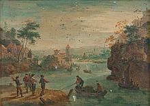 BREDAEL Joseph van (Suite de) (1688-1739) 1- Paysage à la rivière avec des villageois en barque et des promeneurs Huile sur métal (griffures et petites lacunes). Haut.: 11,8 - Larg.: 16,5cm. 2- Rue de