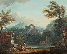 LALLEMAND Jean-Baptiste (Dijon 1710-Paris 1803) Paysage arcadien à la rivière avec des promeneurs au pied d'un tombeau Huile sur panneau. Au revers une ancienne inscription à l'encre Lallemand, et sur un élément de tissu