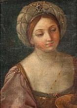 RENI Guido (école de) (Bologne 1575-1642) Tête de jeune femme coiffé d'un turban orné d'une pierre un plat devant elle (étude en rapport avec une figure de Salomé?). Huile sur toile (petites restaurations). Haut.: 53 -