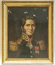 école FRANçAISE du XIXesiècle   Portrait en buste d'officier   Huile sur toile.   Armoiries familiales en haut à droite.   Haut.: 61,5 - Larg.: 48cm.