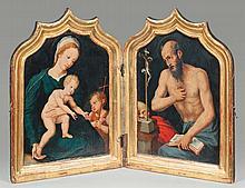 METSYS Quentin (Atelier de) (Louvain 1466-Metsys 1530) Volet de gauche: La Vierge, l'enfant Jésus et saint Jean-Baptiste enfant Volet de droite: Saint Jérôme en oraison Au revers: Volet de gauche en