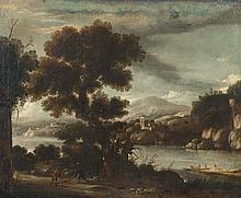 école HOLLANDAISE - Première Moitié du XVIIesiècle Paysage à la rivière avec deux promeneurs en chemin et un chien Huile sur toile (rentoilage ; quelques restaurations ; ancien vernis encrassé). Monogramme en bas à droite. Haut.: 62,5 -