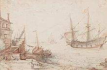 WIERINGEN Cornelisz Claes van (Attribué à) (Haarlem vers 1580-id. ; 1633) Voiliers et barques dans un port Plume, encre brune, pinceau, encre grise, brune, bleue et de sanguine. Collé sur feuille. Filet d'encadrement à la plume et encre