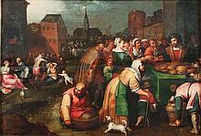 FRANCKEN Frans II dit le jeune (et son atelier) (Anvers 1581-id. ; 1642) Les sept aeuvres de Miséricorde (Matthieu 25. 35-36) Au premier plan à droite: Nourrir les affamés ; au second plan à gauche: Soigner