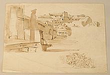 école FRANçAISE du XIXe?siècle   étude de ville antique et combat de cavalerie   Plume, encre brune et lavis de brun.   Haut.?: 18,5 - Larg.?: 24,5?cm.