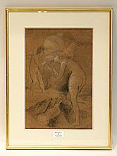 école FRANçAISE - Seconde Moitié du XIXe?siècle   Entourage de Jean-Jacques Henner (1829?-1905)   Eros et naïade   Crayon noir et rehauts de blanc.   Haut.?: 36,5 - Larg.?: 24?cm.