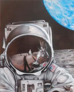 BANGA, né en 1970 Moonwalk Aérographe sur toile...