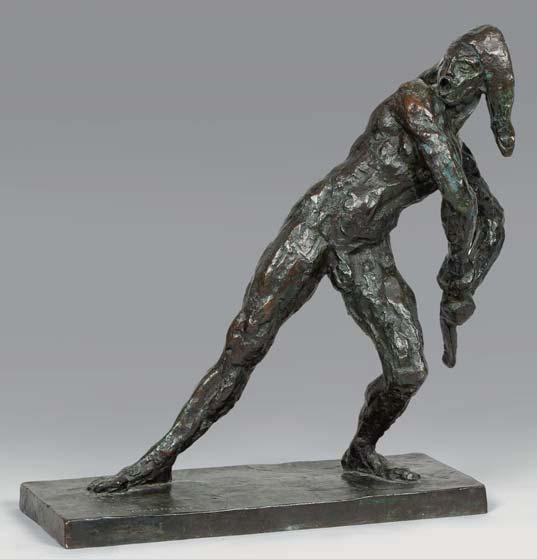 Antoine BOURDELLE L'Arlequin, 1905 bronze à patine brune nuancée de vert (petits frottements et oxydations), sur la terrasse : © B...