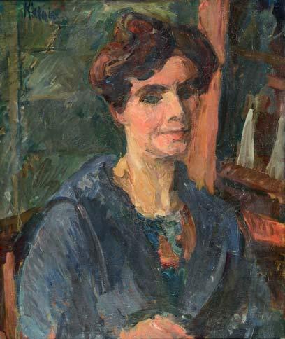 Michel KIKOÏNE Femme en bleu (Madame Hortense Sérulaz), circa 1910 huile sur toile, signée en haut à gauche, 55 x 46 cm.